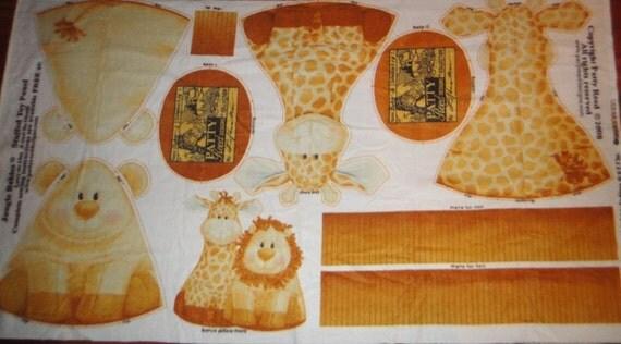 Patty Reed Jungle Baby Stuffed Animal Fleece Fabric Panel  - Giraffe and Lion