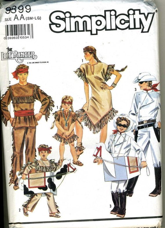 Simplicity 9899 UNCUT Adult Lone Ranger and Tonto Costume Pattern Size Sm - Med - Lg