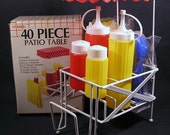 Vintage Plastic Picnic Table 40 Pc. Condiment Set  New Old Stock Ketchup and Mustard Bottles Salt and Pepper Knives Forks and Spoons