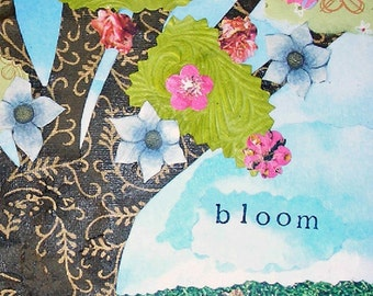 Tree and Flowers Giclee Collage Print 8 x 10