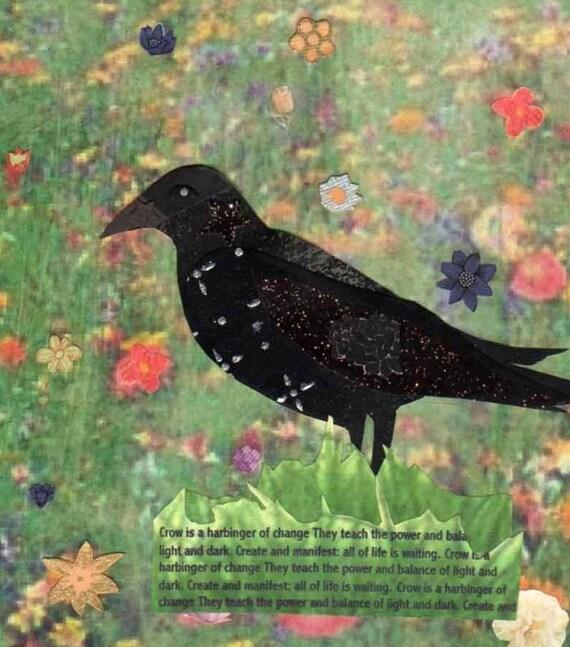 Bird Art Collage Crow Ready For Balance Giclee print