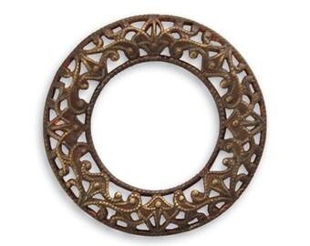 2 pieces Scrolled Filigree Ring Antique Brass by Vintaj Item DR30