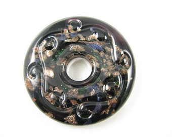 Black and Copper Glass Donut Pendant Focal bead for Necklace