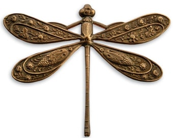 1 piece of 50x39mm Ornate Dragonfly - Antiqued brass by Vintaj Item P165