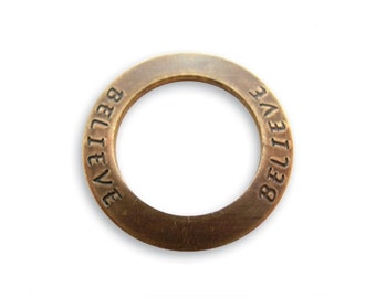 SALE: 2 pieces BELIEVE Affirmation Ring, Brass, 23mm, Vintaj P123
