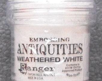 Weathered White Embossing Powder, Antiquities Embossing Powder by Ranger, 1 oz Jar