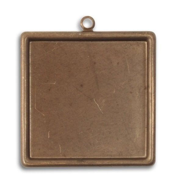 2 pieces 29.5mm Classic Square Bezel, Natural brass square bezel, Vintaj Natural Brass, Vintaj item P0002