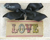 SALE 25% Off Colorful Vintage Style ValentinesTypography Marble Subway Tile LOVE Sign with Ribbon Hanger