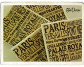 Set of 4 Gold and Black French Subway Sign Marble Stone Coasters