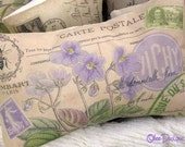 Lavender Botanical VIOLETS French Postcard PILLOW with Crown Crested Bee and Purple & Green Postage Stamps