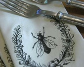 Set of 6 Soft Off White Cream Cloth Napkins with Black Vintage Bee in a Floral Garland Crest Wreath with Bow
