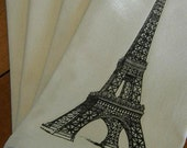 Set of 4 Soft Creamy Off White Cloth Napkins with Black Vintage Eiffel Tower