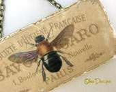 Bee on a French Vintage Soap Label Marble Subway Tile Sign with Antique Gold Tone Chain Hanger