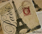 Set of 4 PARISIAN Tumbled Marble Vintage French Postcard Eiffel Tower Coasters