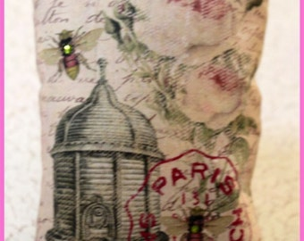 Pink Vintage French Postcard Sachet with BeeSkep, Embellished Bees and Roses on a Lace and Vintage Letter Background