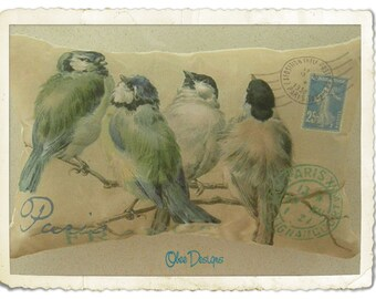 Gold Parisian Vintage French Postcard Sachet with Blue Birds