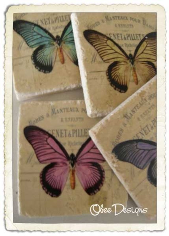 Set of  4 Vintage Butterfly Coasters with Soft Parchment  Colored French Label Background on Tumbled MarbleTile