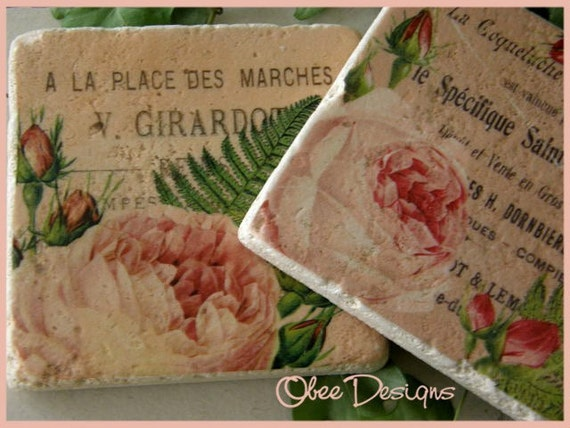 Set of  4 Vintage French Labels with Pink Floral Botanical Tumbled MarbleTile Coasters