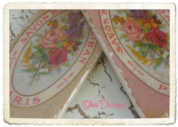 Vintage French Floral Label Marble Subway Tile Sign with Ribbon Hanger