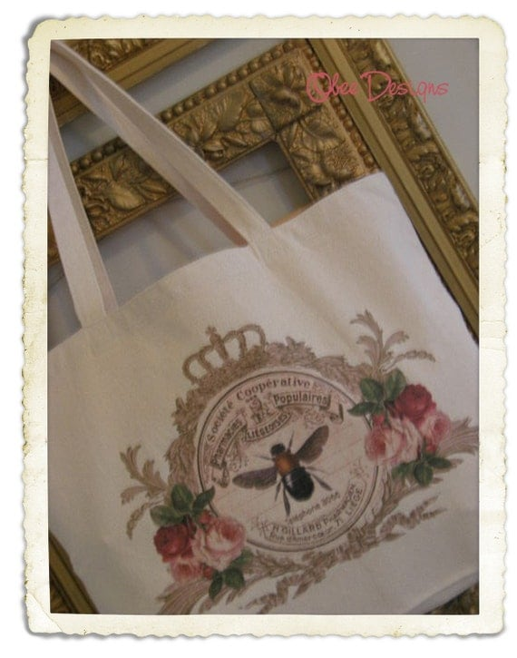 Natural Cotton Canvas Tote with Crowned Garland French Vintage Pink Apothecary Label with Bee and Roses