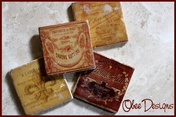 Set of 4 Marble Stone Tile  Country French Coasters with VIntage Labels in Crimson Red and Yellow Gold