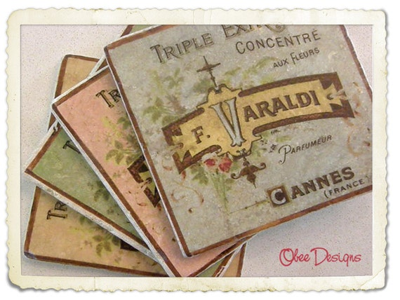 Set of 4 Marble Stone Tile Coasters with Pastel Colorized Vintage French Perfume Labels