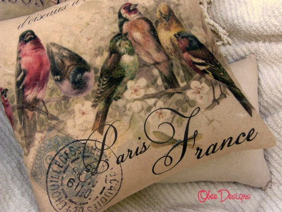 Feminine Blush Pink PILLOW Vintage French Postcard with Birds Linen Envelope Closure Back