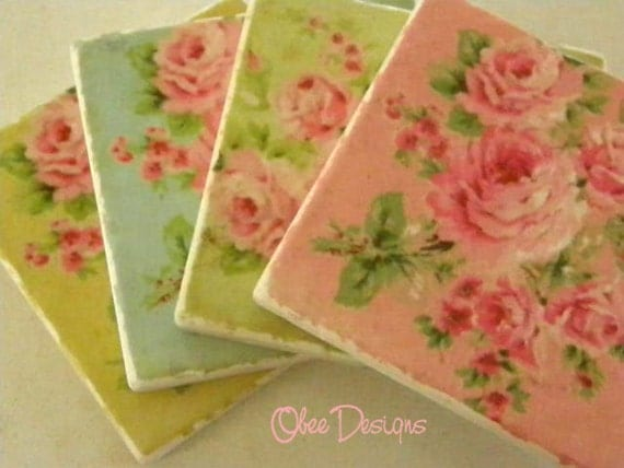 Set of 4 Shabby Chic Cabbage ROSES Tumbled Marble Coasters with Bright Colored Backgrounds