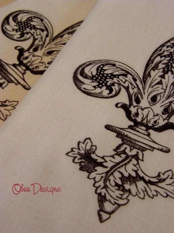 Set of 2 Black Vintage Filigree FLEUR DE LIS on Tea Dyed Cotton Flour Sack Towels