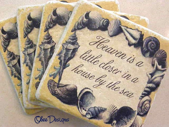 Set of 4 Heaven is a Little Closer in a HOUSE By THE SEA QuoteTravertine Marble Shell Coasters In Blue and Yellow