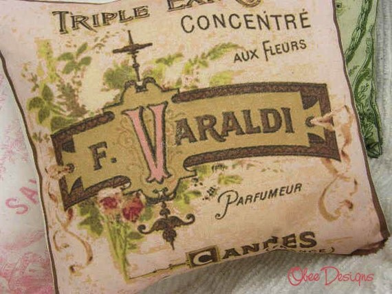 Pink Vintage French Perfume Label PILLOW with Floral accents in shades of Green, Gold and Brown with a Cream Linen Envelope Closure