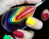 Handmade Thread Earrings, Rainbow Earrings, Rainbow Jewelry, RubysHandiwork.com