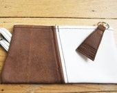 Brown & White Leather Cosmetic/Clutch Key Ring Made with Repurposed Materials