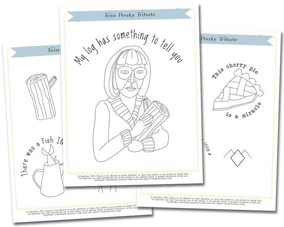 Embroidery Pattern: Twin Peaks Tribute Embroidery Pattern Set