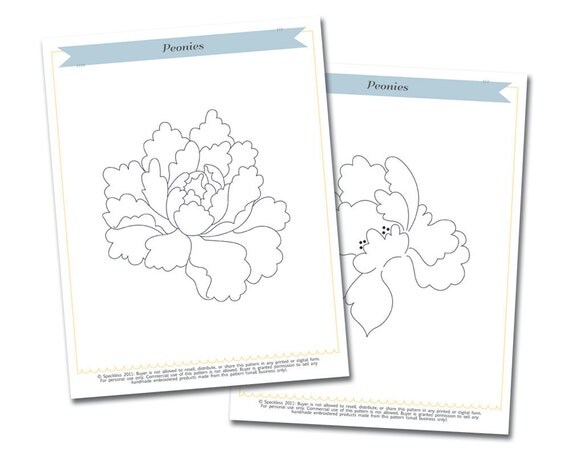 Embroidery Pattern: Peonies