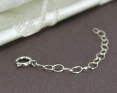 Sterling Silver Necklace Chain Extender with clasp, 2 inch