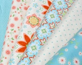 BUNDLE SALE - Delighted Riley Blake - Cream Blue Custom Bundle - The Quilted Fish - in half yards, 6 total