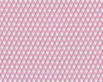 Pink Organic Cotton Fabric, Monsterz Mountainz, Pink, Trianles, Organic Designer Cotton, Cloud9 Fabrics, 1 yard Sale, FREE SHIPPING to US