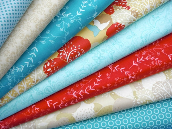 BUNDLE SALE - Turquoise Red Neutral Custom Bundle - Lovely Orchard Love Birds Bloom and Grow Designer Fabric - half yards, 8 total LAST One