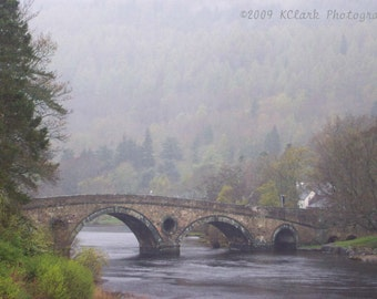 The Bridge fine art photography Scotland landscape soft dreamy romantic home decor misty Outlander inspired stone bridge river Tay rainy