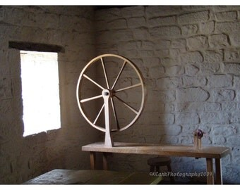 Spinning Wheel Waits 8x10 Photo 11x14 mat light stone cottage decor shabby chic country farm prairie rustic  feminine