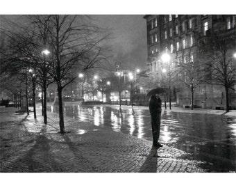 Rainy Glasgow 24x16 Black and White city scene Scotland night urban dark misty dreamy noir cold wet winter