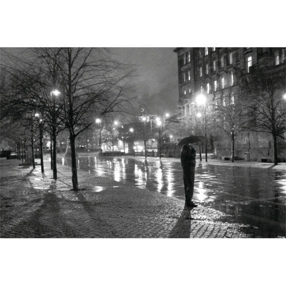 Rainy Glasgow 24x16 Black and White city scene Scotland night urban dark misty dreamy noir cold wet winter
