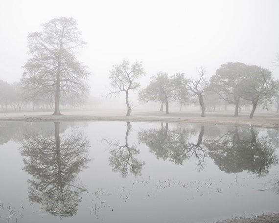 Pond Reflections 16x20 fine art photograph of a winter white pond full of mirror images and foggy morning dreams of Spring