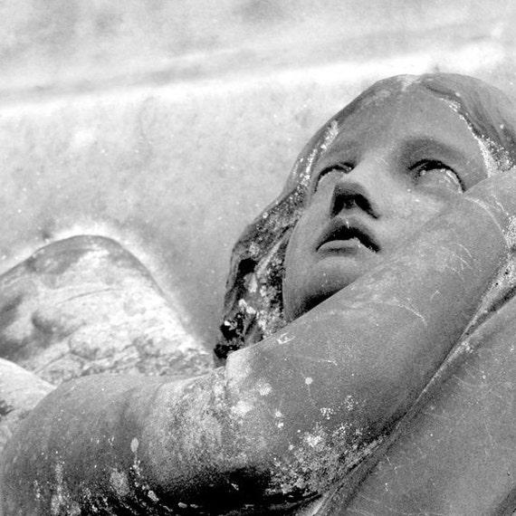 Pondering  Fine Art Photography Stone Angel black and white classic home decor cemetery art Gray stone Glasgow Scotland