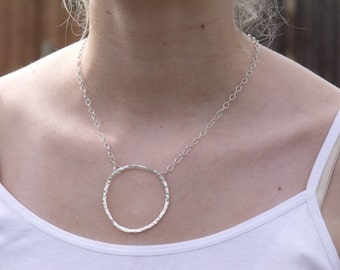 Handmade Silver Hammered Eternity Circle Necklace .935