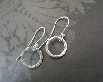 Handmade Pure Silver Circle Dangle Earrings