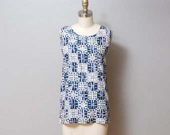 SALE - 1980s Abstract Print Silk Tank