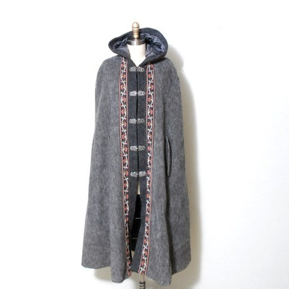 Nordic Grey Wool Hooded Cape