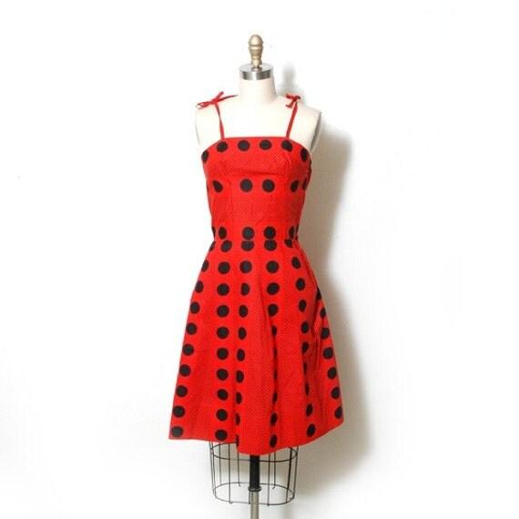 r e s e r v e d Red and Black Polka Dot Mini Dress